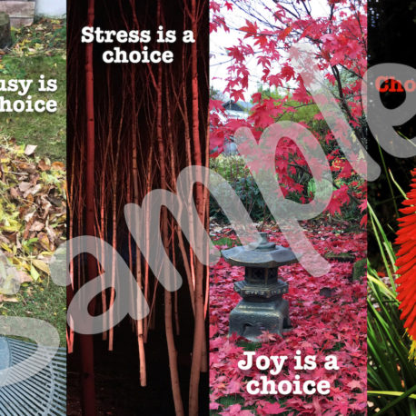 Front: Busy is a Choice, Stress is a Choice, Joy is a Choice, Choose well…