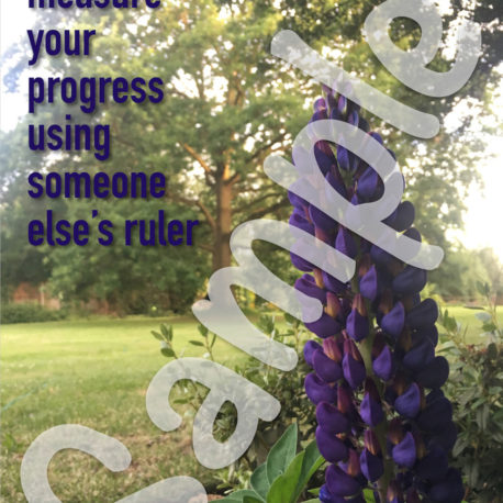 Front: Don't measure your progress using someone else's ruler