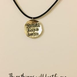 Faith, Hope & Love: 20″ Waxed Cotton Necklace