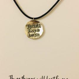 Faith, Hope & Love: 20″ Waxed Cotton Necklace