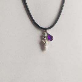 Dance (with purple Gem): 20′ Waxed Cotten Necklace